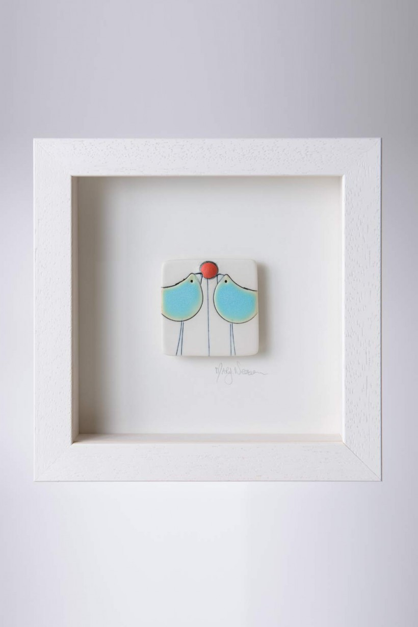 Framed Ceramic Pieces - Love Birds
