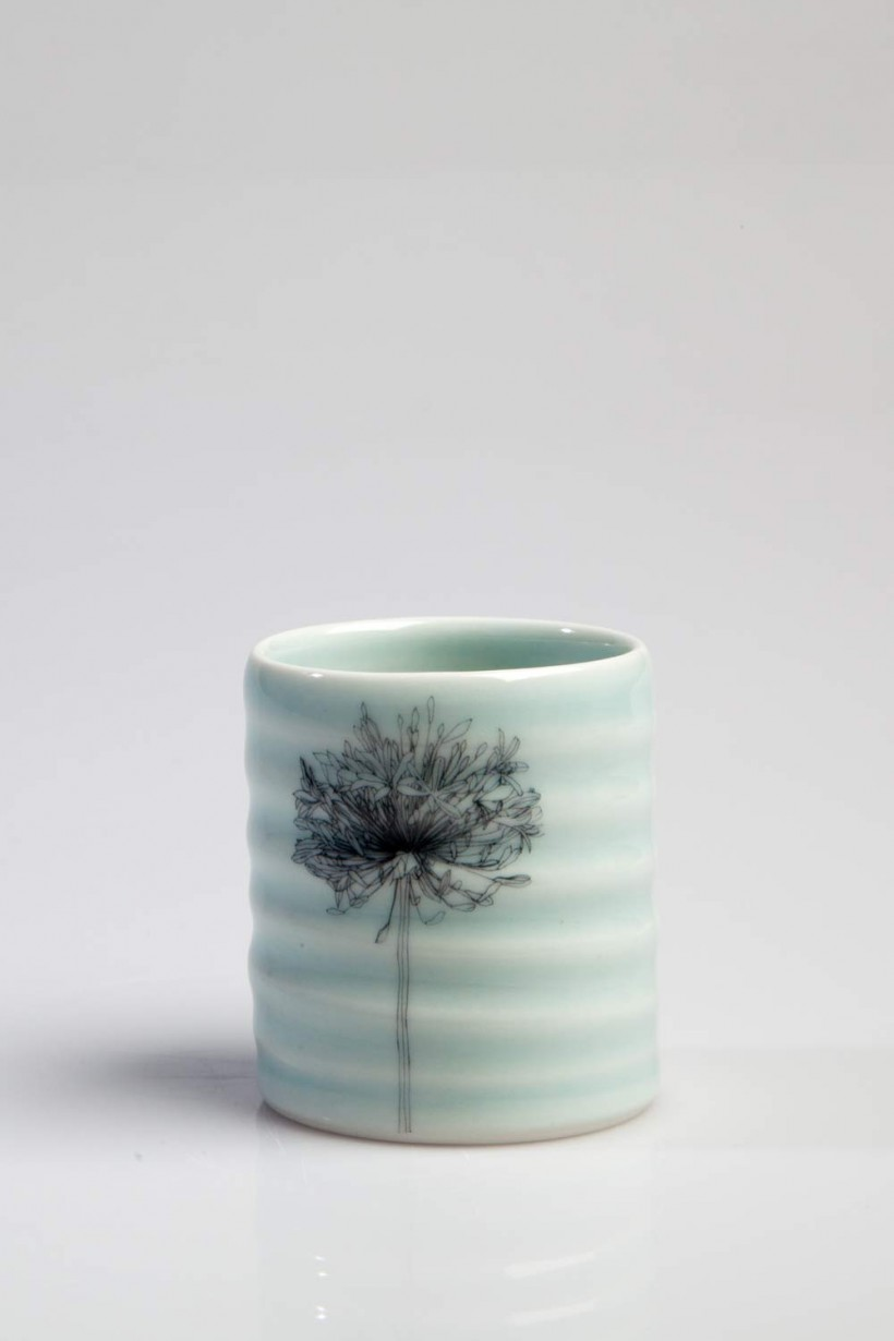Irish Pottery Blue Porcelain Flower