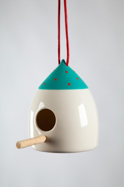 Bird Feeder Green and Red Dot